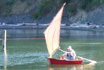 This is Trot, tender to Full Gallop and sister-ship to Tartlet. Chuck believes that anything that floats should sail too!