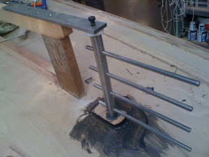 the balanced rudder backbone is stainless rod - no welds.